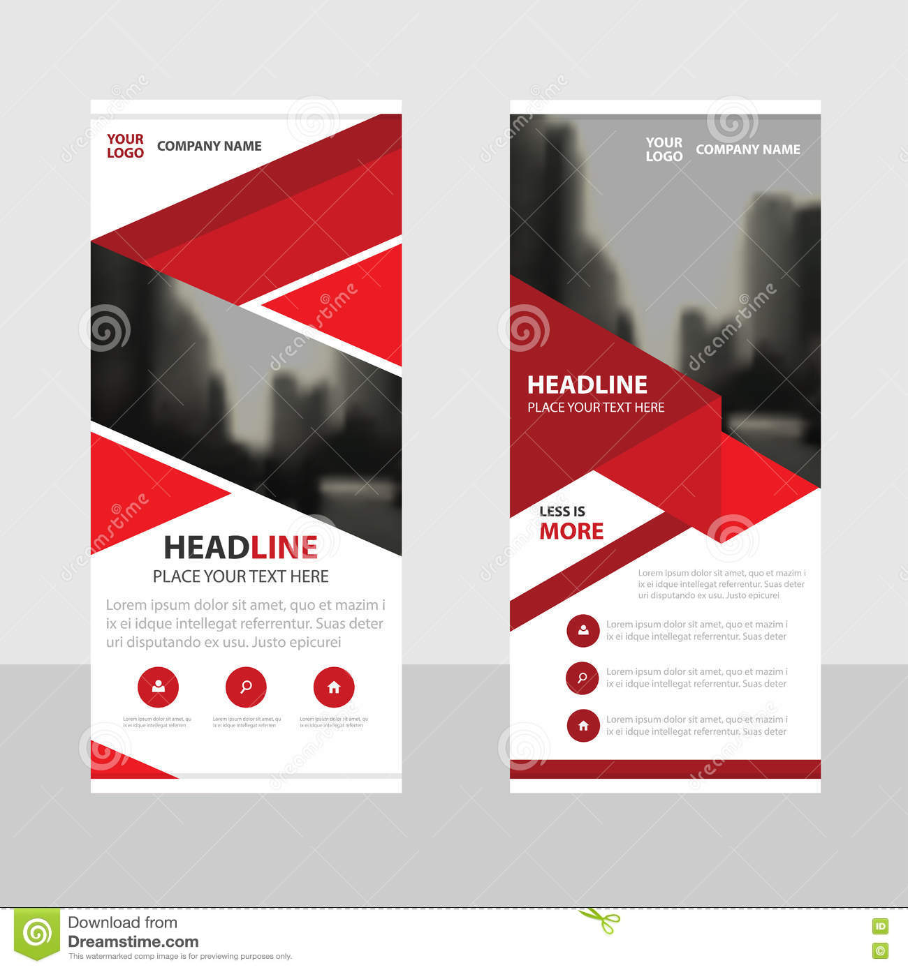 Red Business Roll Up Banner Flat Design Template Abstract