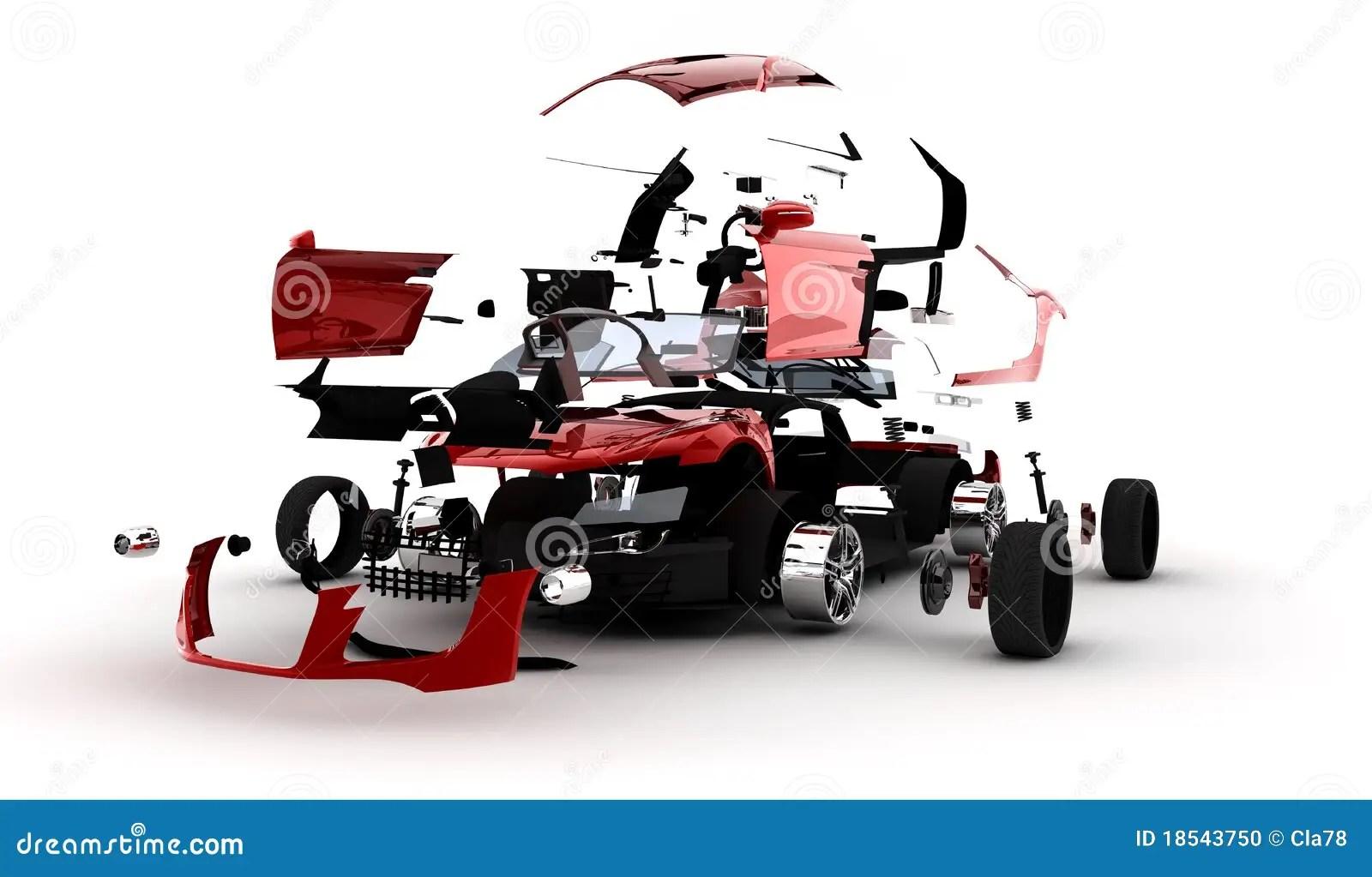 Red Car Exploded Stock Illustration Illustration Of