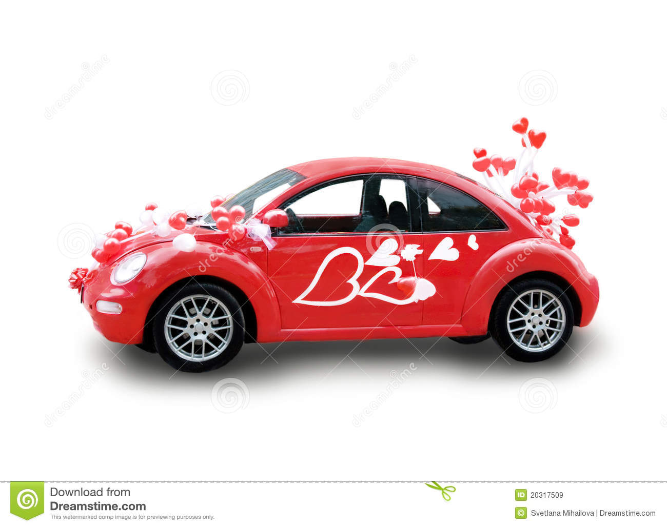 Red Car With Hearts Stock Image Image Of Limousine Many