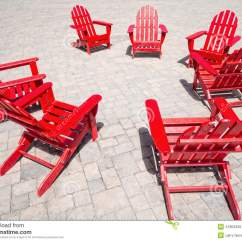 Red Adirondack Chairs Outdoor Rocking Uk Stock Image Of Bench Armchair