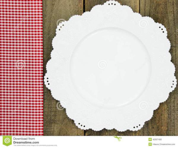 Red Checkered Fabric Border White Plate Rustic