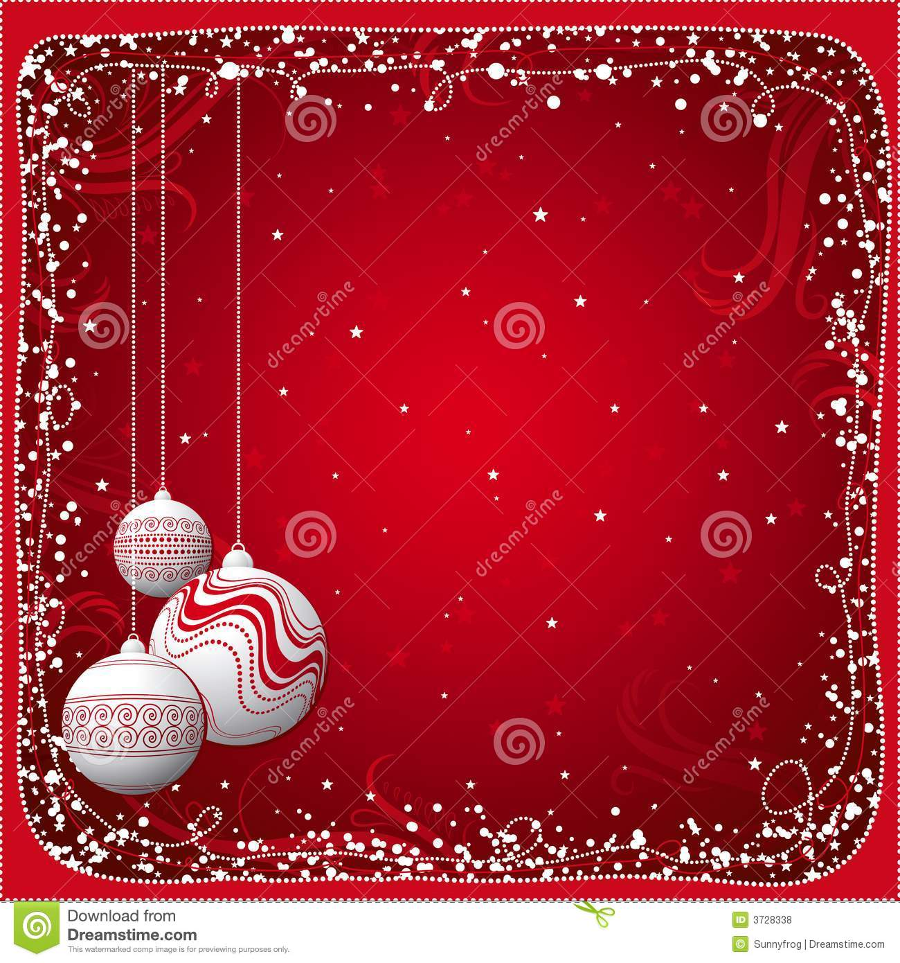 Red Christmas Card With Balls Royalty Free Stock Photos