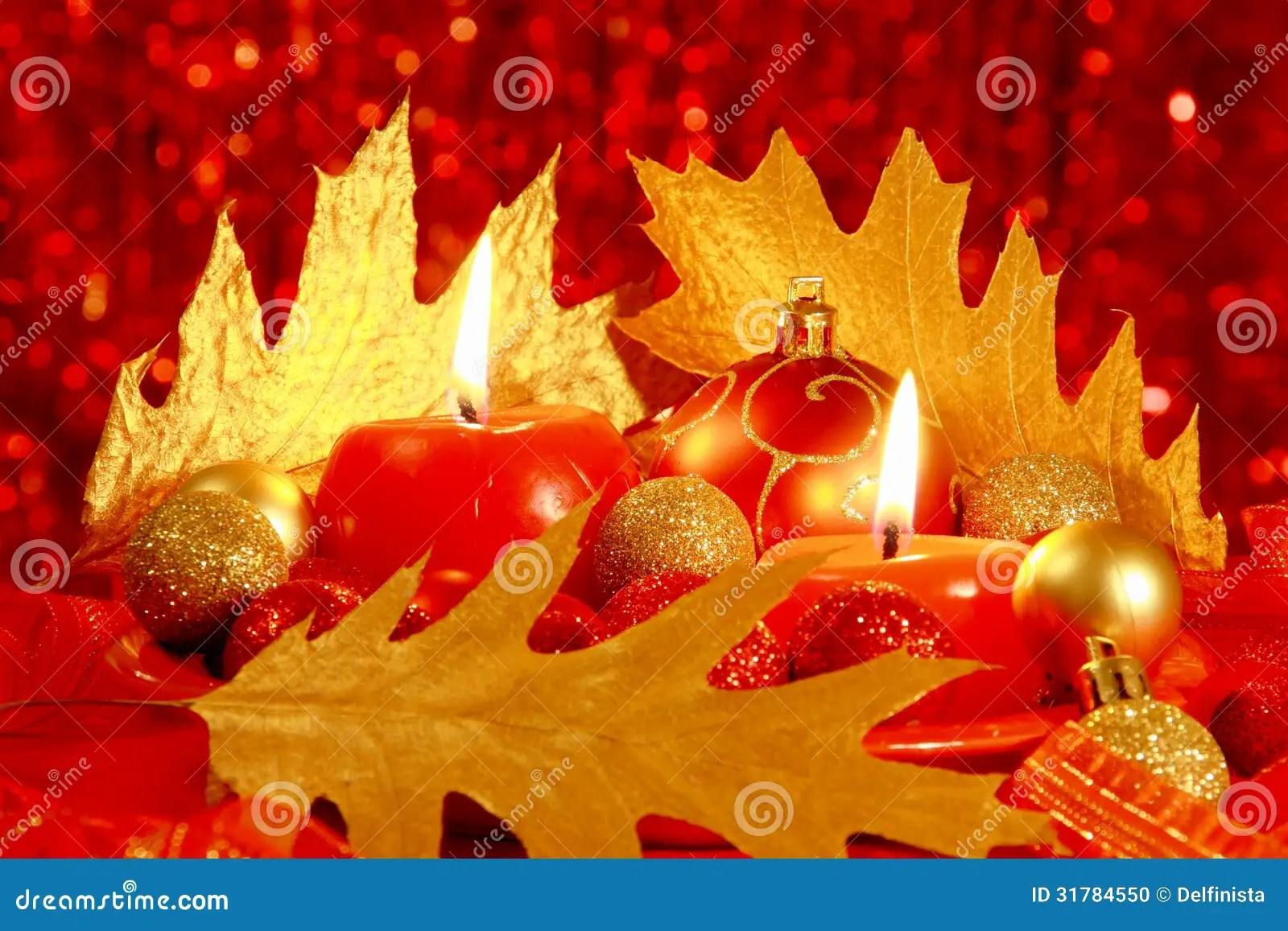 Red Christmas Card Balls Amp Candles Stock Photos Stock