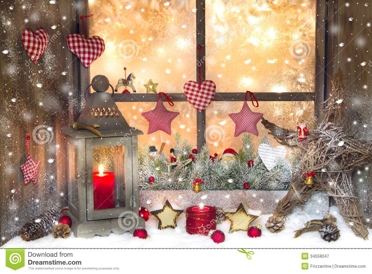 Red Christmas Decoration With Lantern On Window Sill With