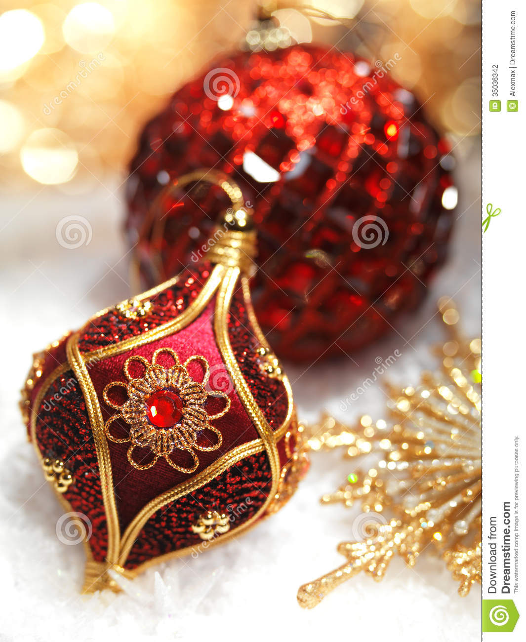 stock photography red christmas ornaments decoration gold snow still life