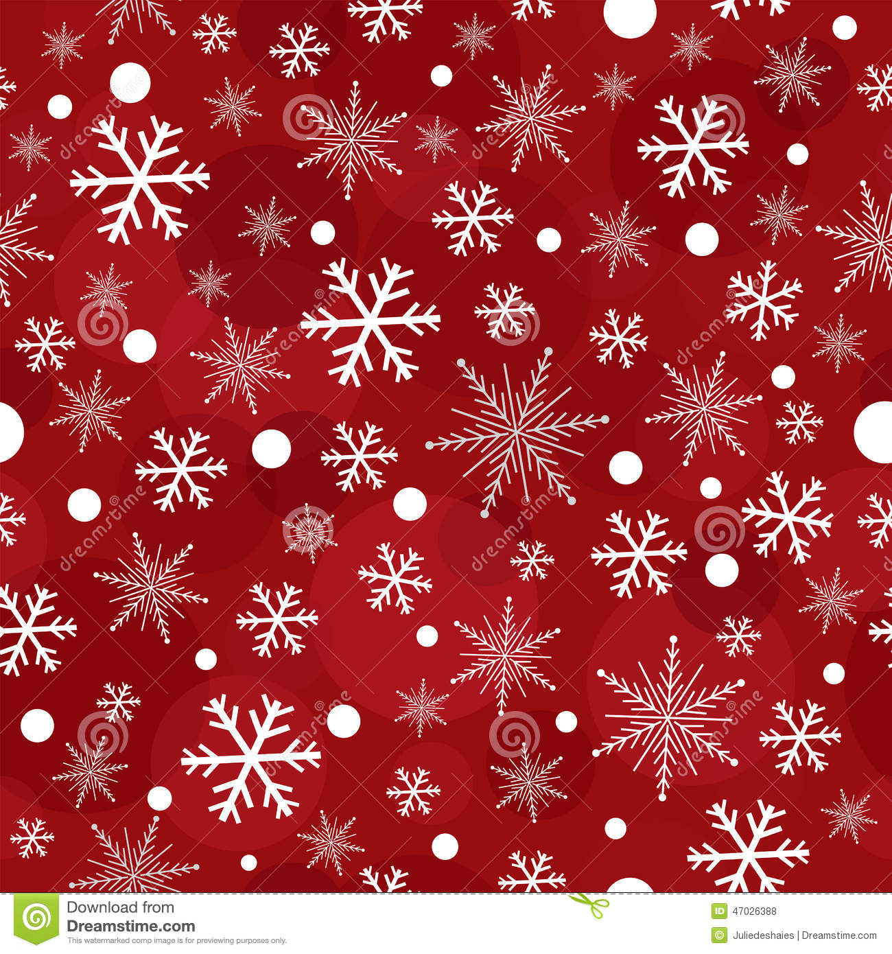 red christmas snowflakes seamless pattern stock vector