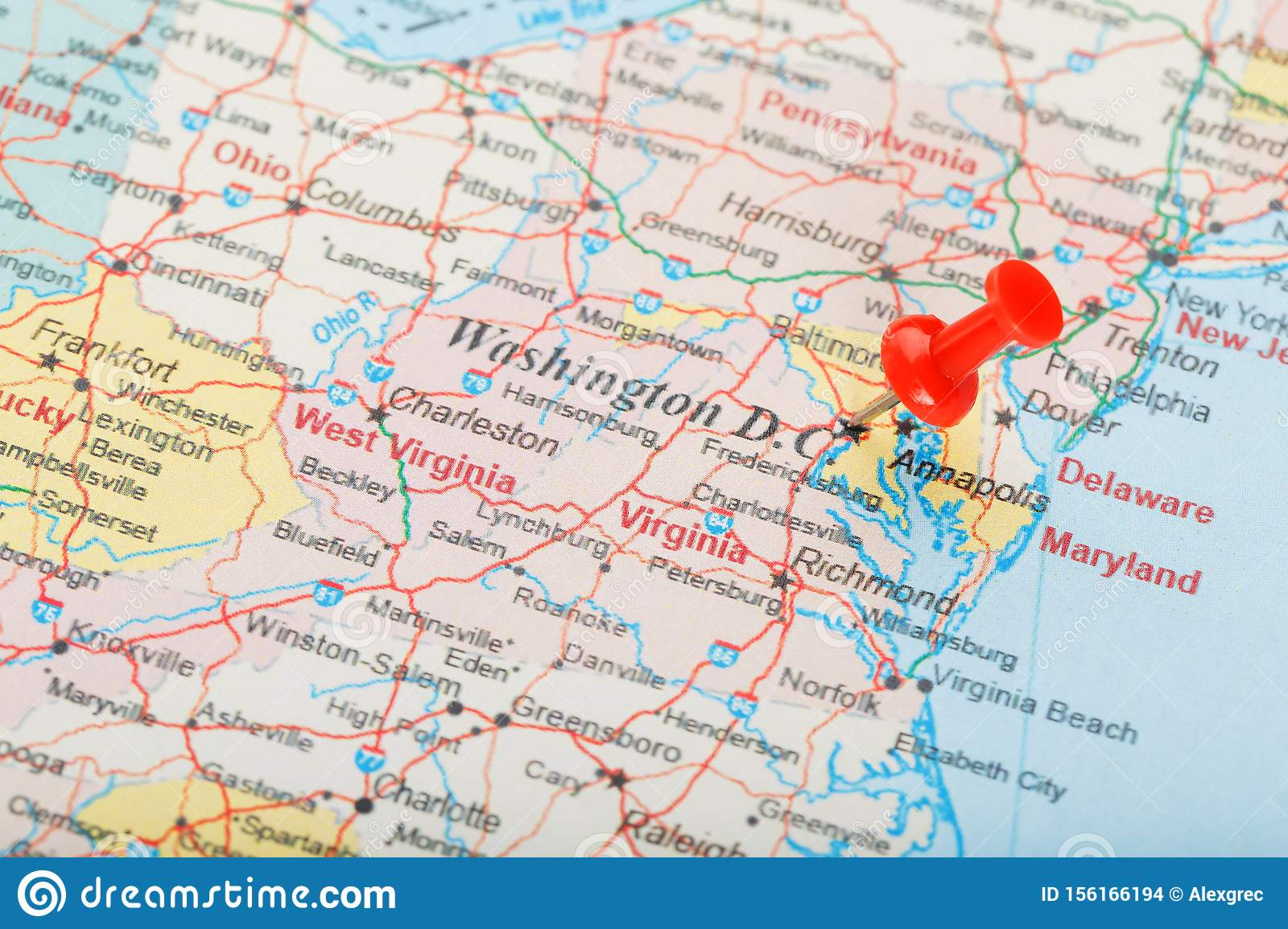Proposed state of washington dc this map was created for planning purposes from a variety of sources. Red Clerical Needle On The Map Of Usa South Washington Dc And The Capital Of Richmond Close Up Map Of Dc With Red Tack Stock Photo Image Of Book Road 156166194