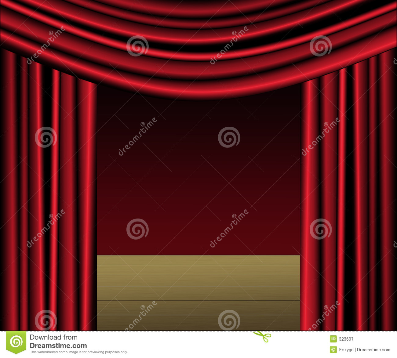 Red Curtain Stage Stock Illustration Image Of Drapery 323697
