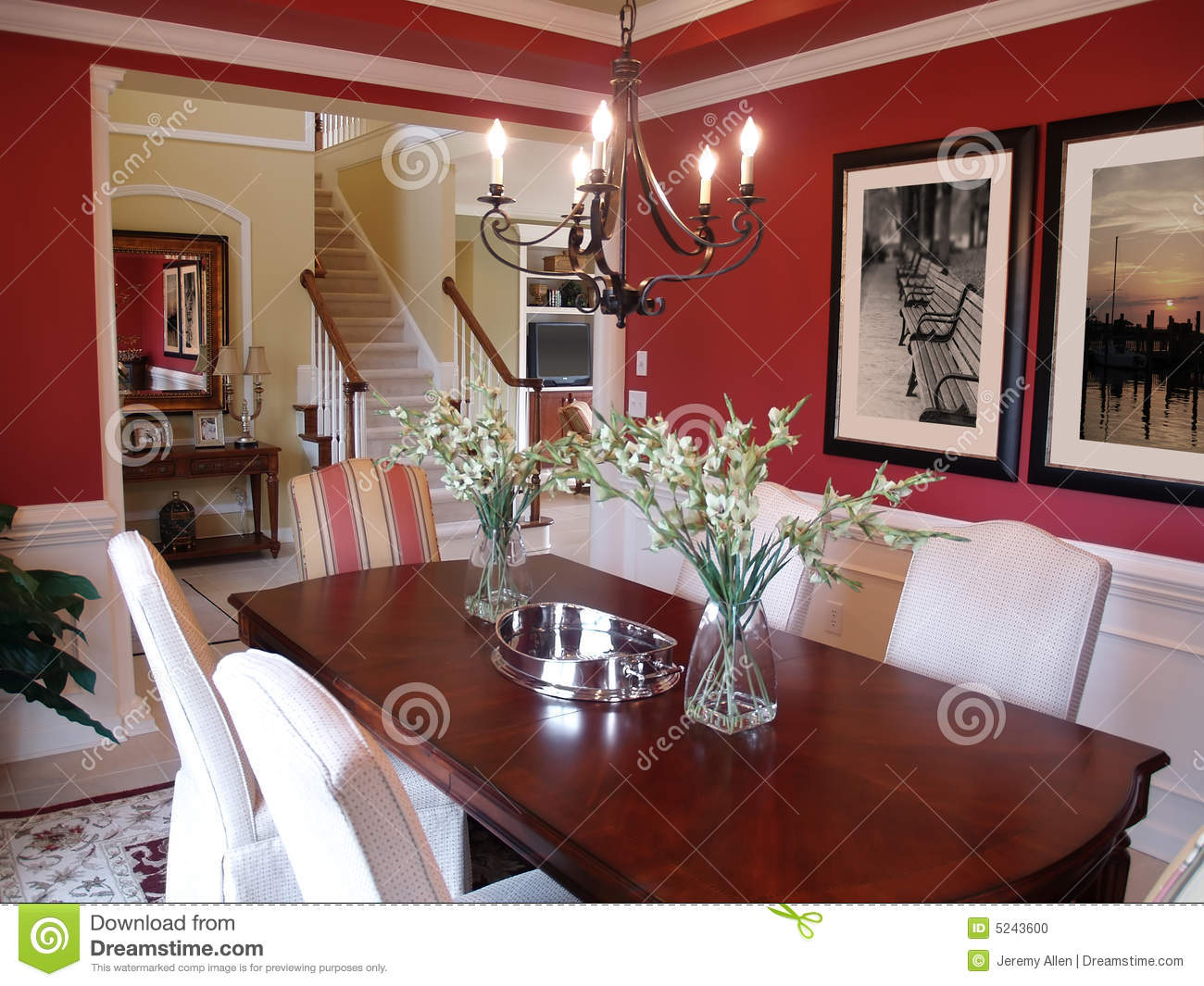 Red Dining Room stock photo Image of railing luxury