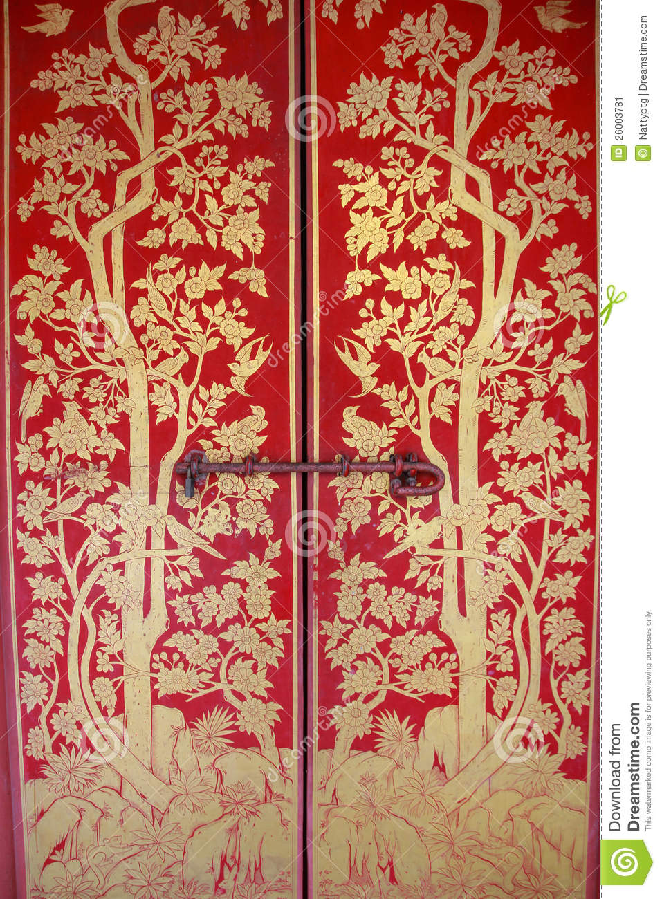 Red Door With Gold Painting Stock Image Image 26003781