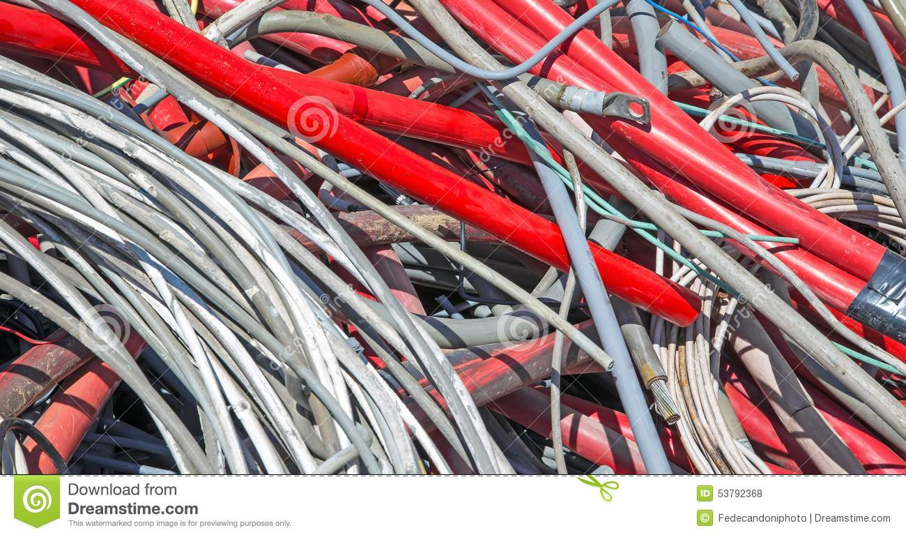 hight resolution of red electrical wires in the dump of special material