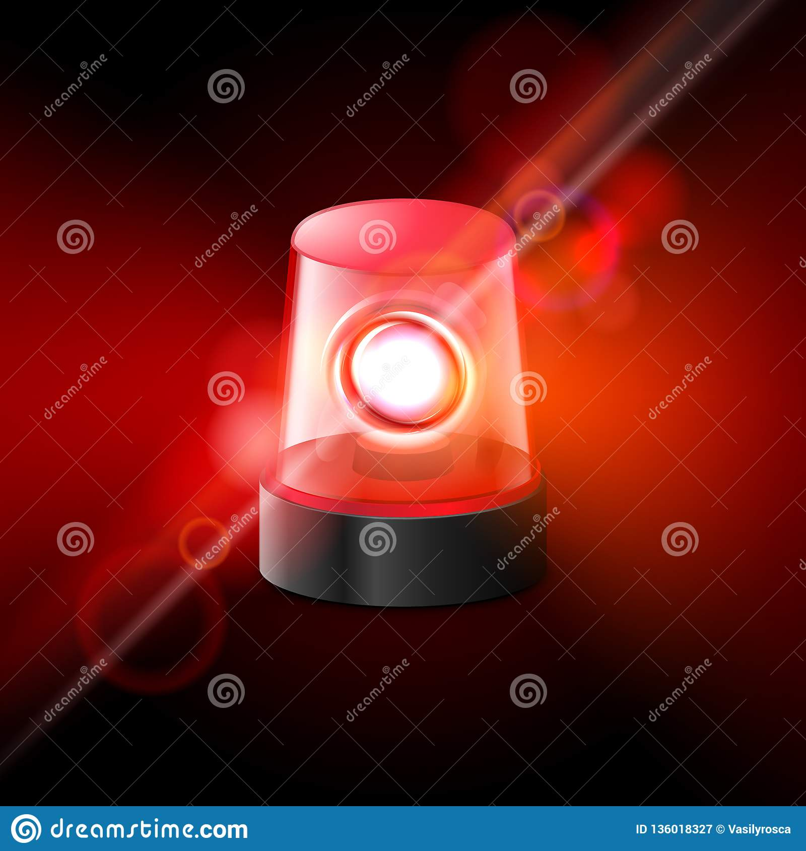 red flashing police beacon