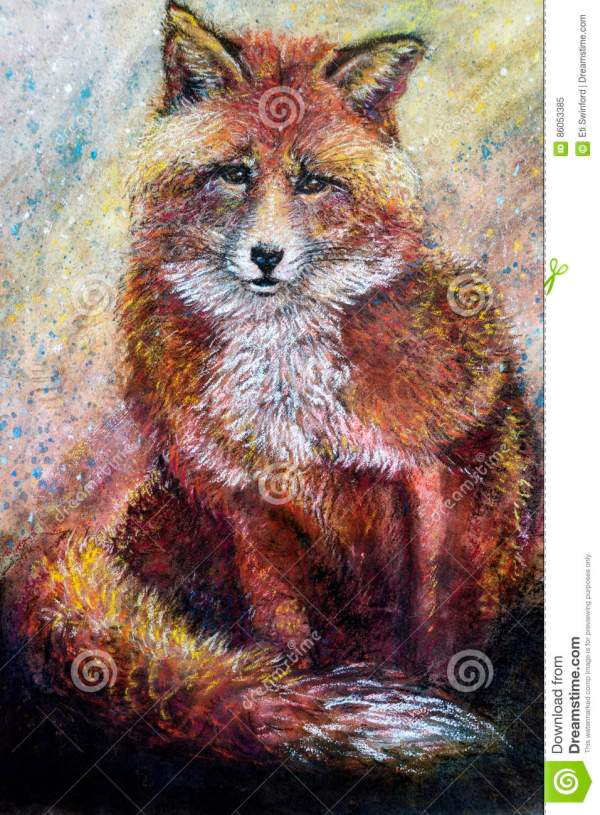 Red Fox Art Drawing Stock Of Artistic Charcoal - 86053385