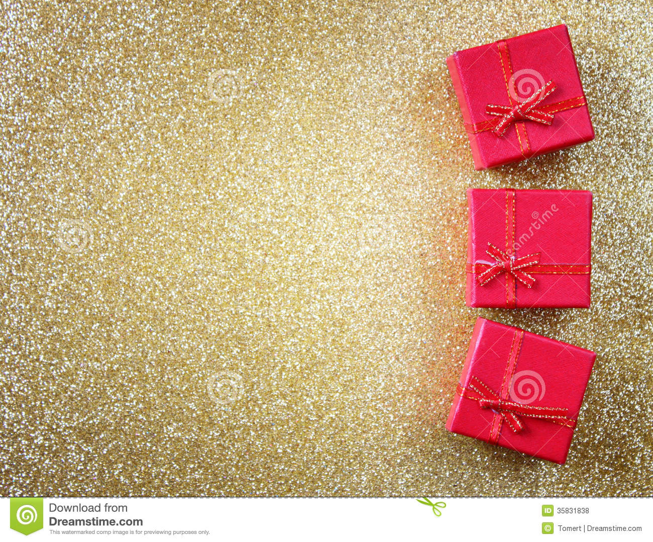 Red Gift Boxes On Glitter Gold Background Royalty Free