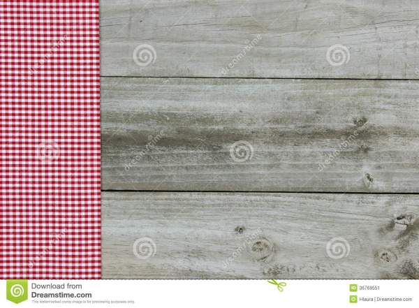 Red Gingham Border Wood Background Stock
