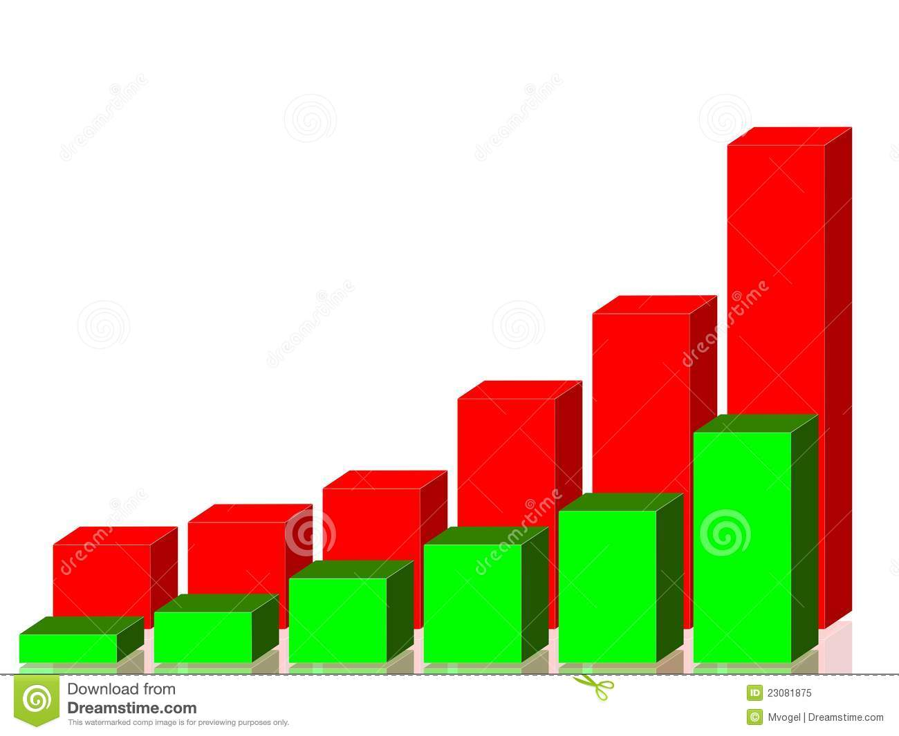 Red and Green Bar Graph stock vector Image of investment