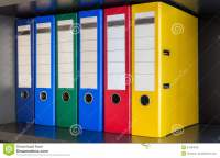 Red, Green, Blue And Yellow Office Folders Royalty Free