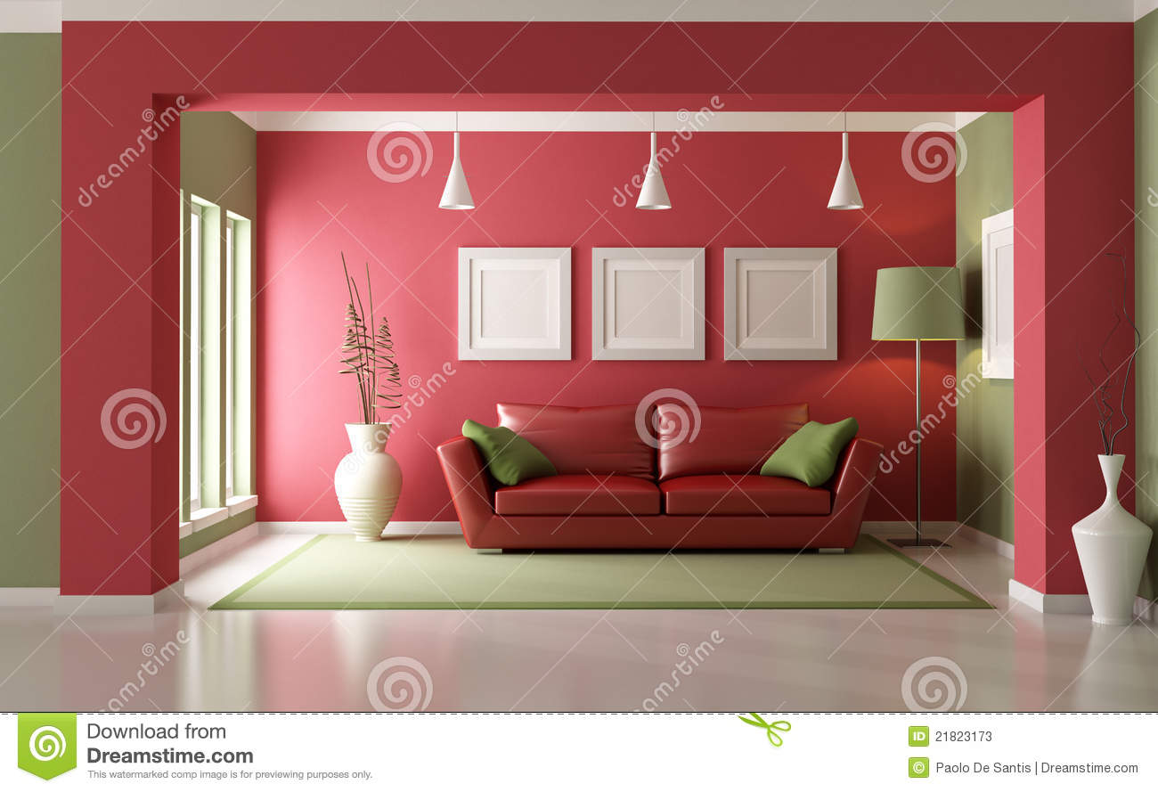 green and red living room modern chair stock illustration of elegant with sofa rendering