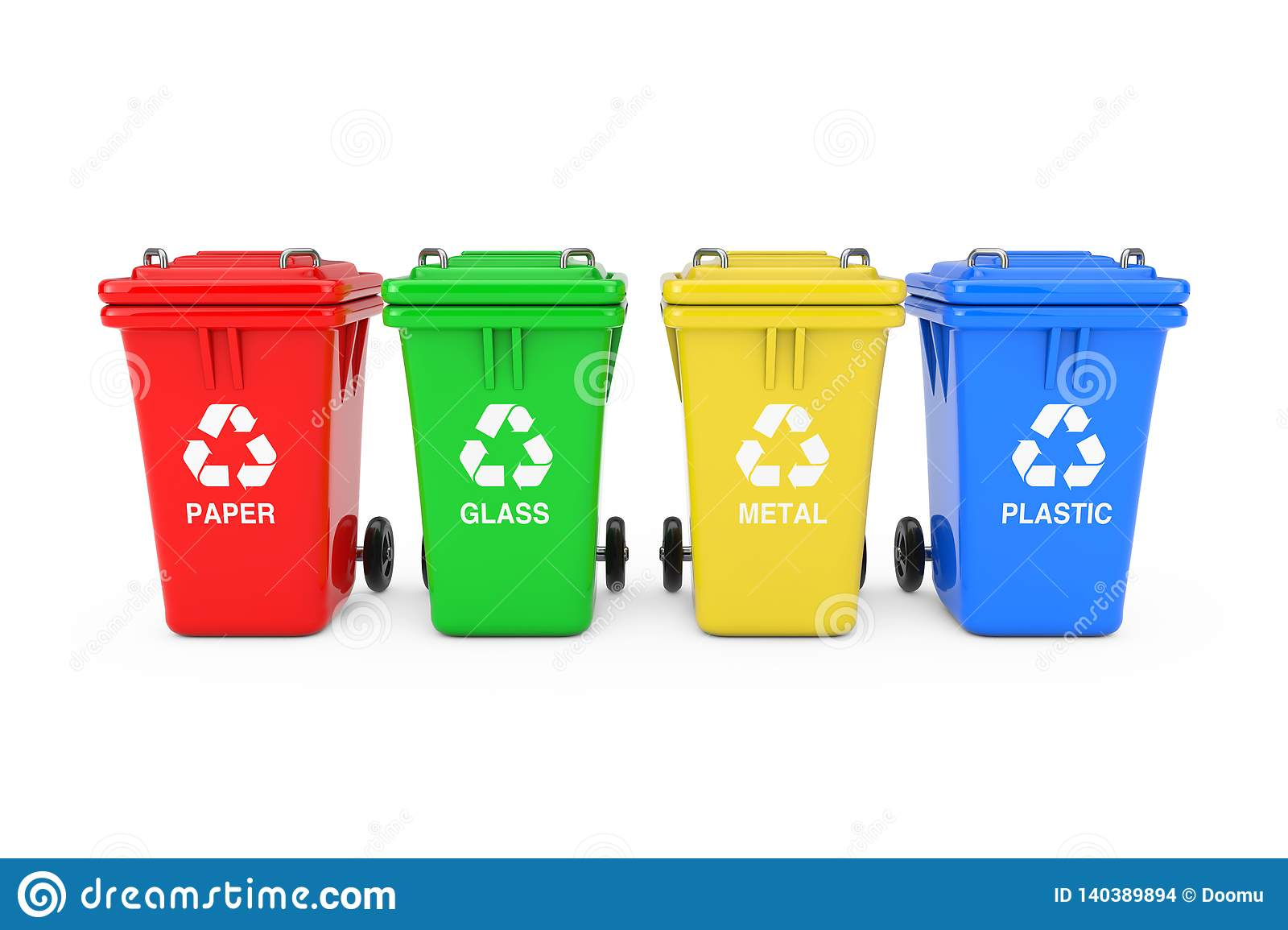 Red Green Yellow And Blue Recycle Bins With Recycle