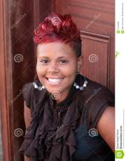 red haired african american woman
