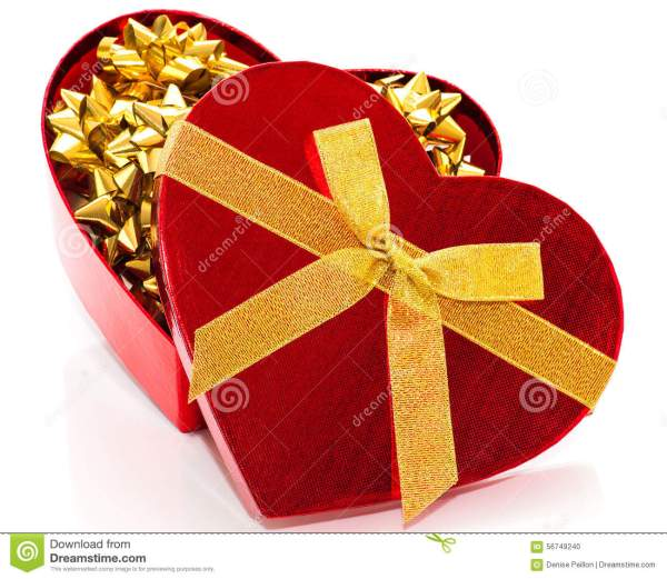 Red Heart With Gold Bows Stock - 56749240