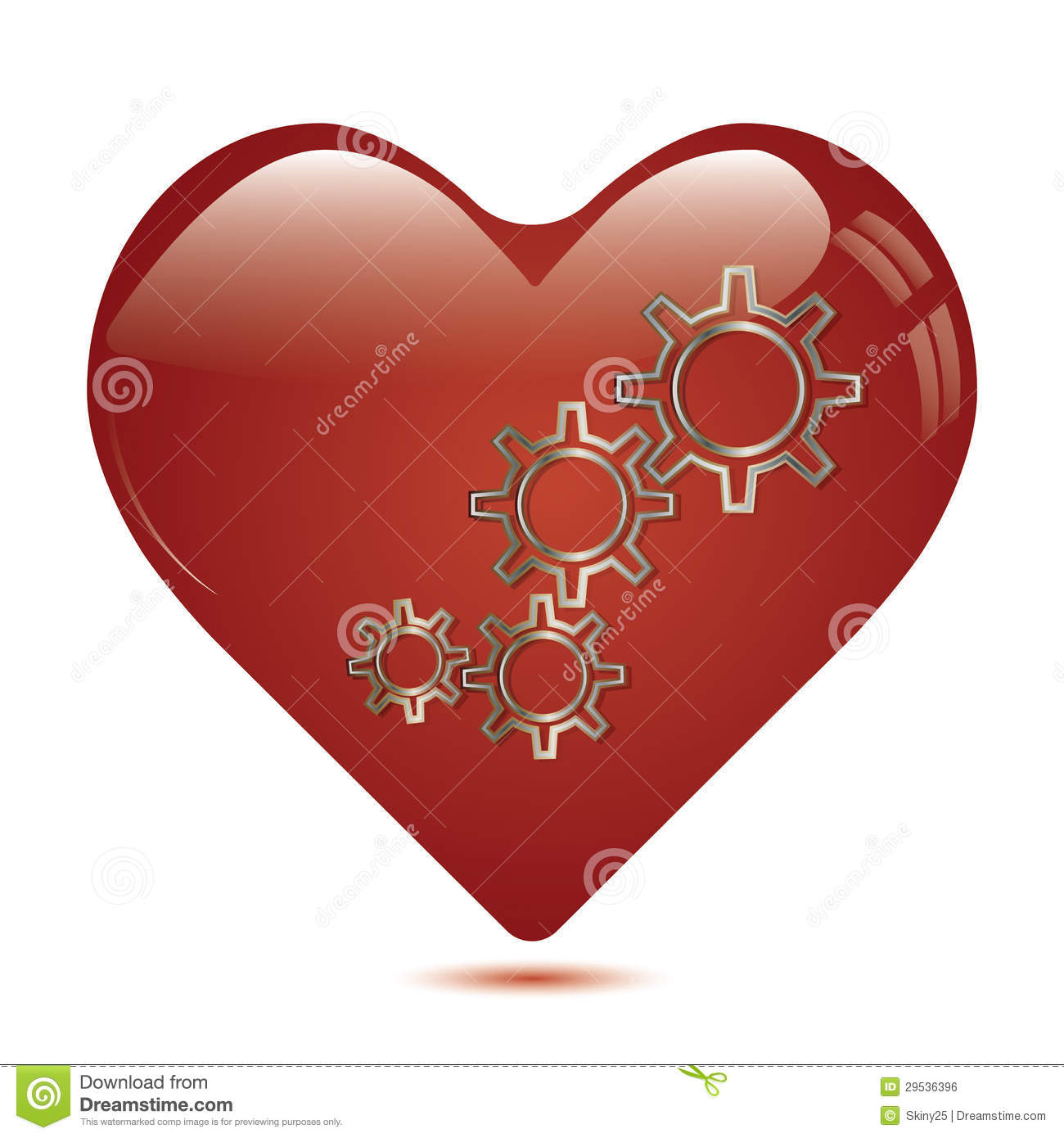 Red Heart Shape With Gears Inside Stock Vector