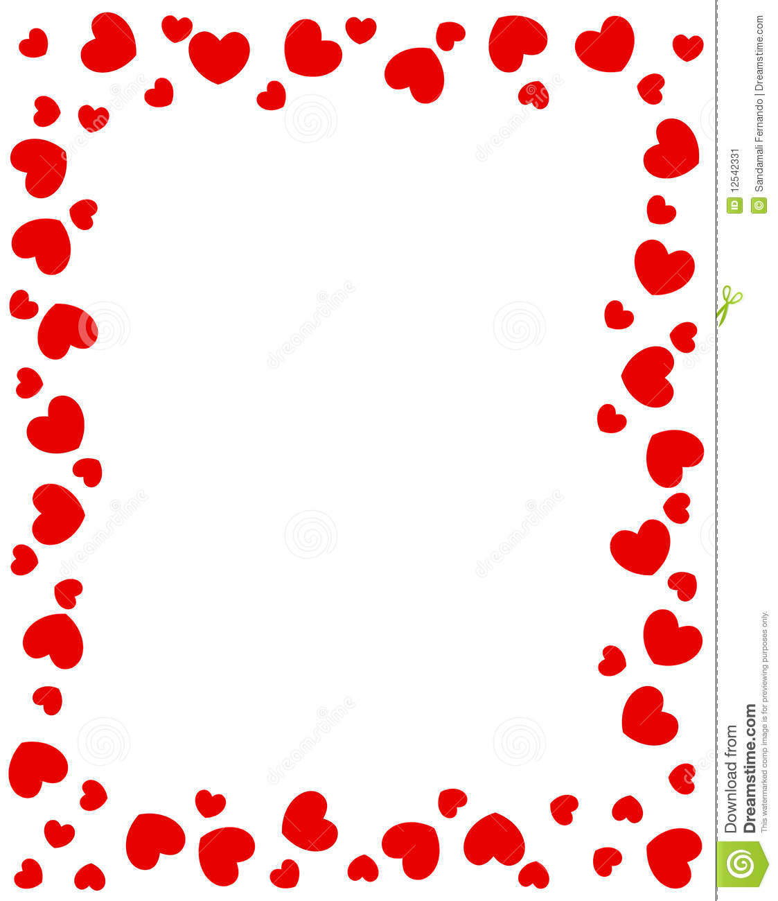 Red Hearts Border Stock Image