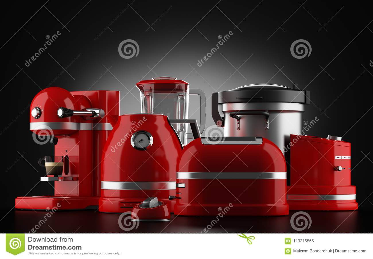 red kitchen appliances organization tips on black stock illustration of