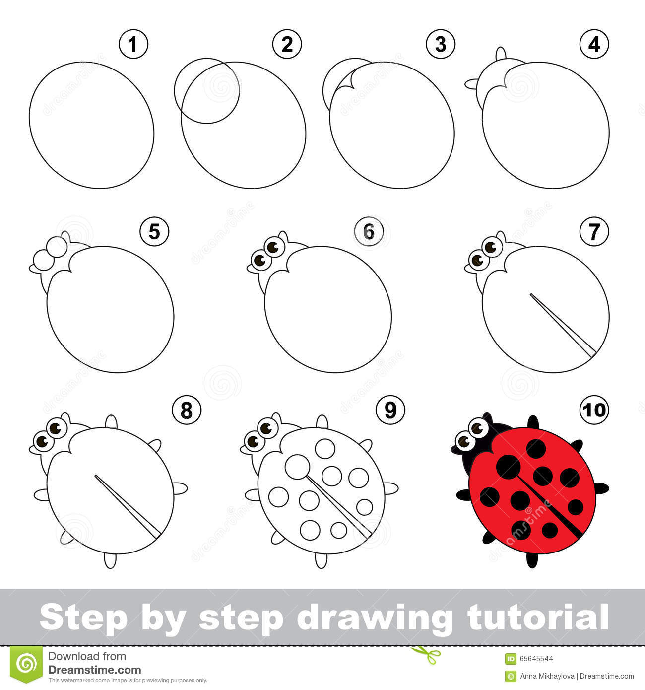 Red Ladybug Drawing Tutorial Stock Vector