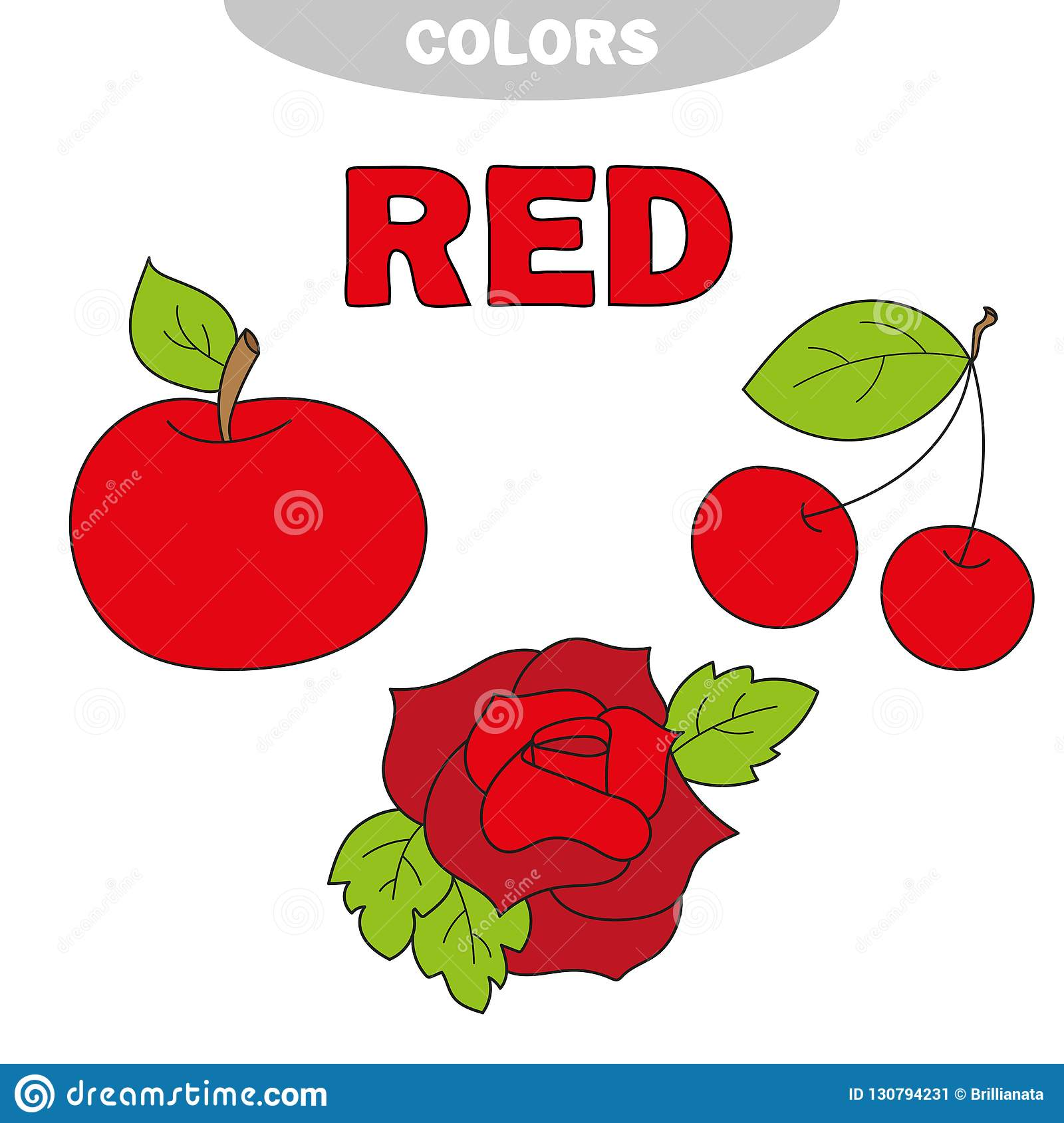 Red Learn The Color Education Set Illustration Of