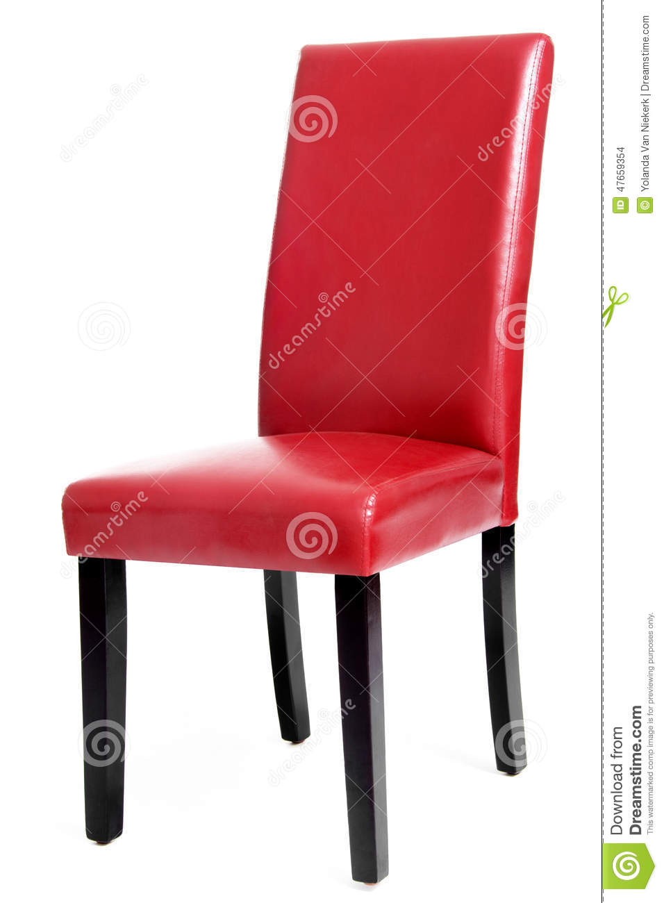 Red Leather Dining Room Chairs Red Leather Dining Chair With Wooden Legs Stock Photo Image Of
