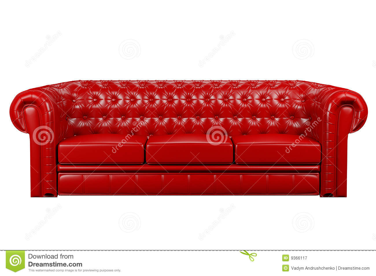 leather red sofa chesterfield bed usa 3d stock illustration of decor 9366117