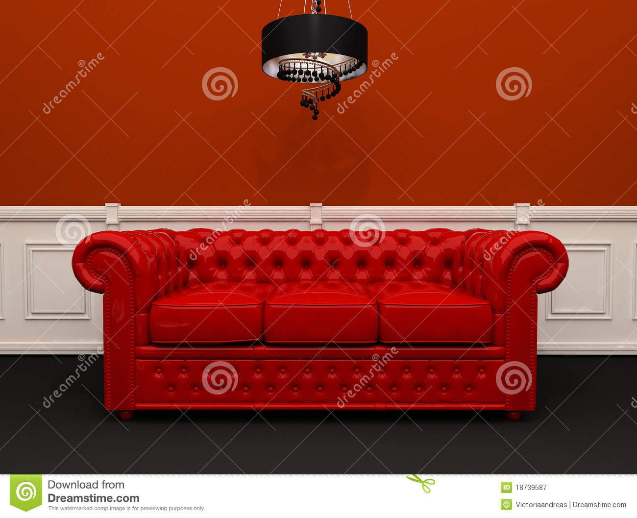 chesterfield leather sofa how to recover pillows red with chandelier interior royalty free ...