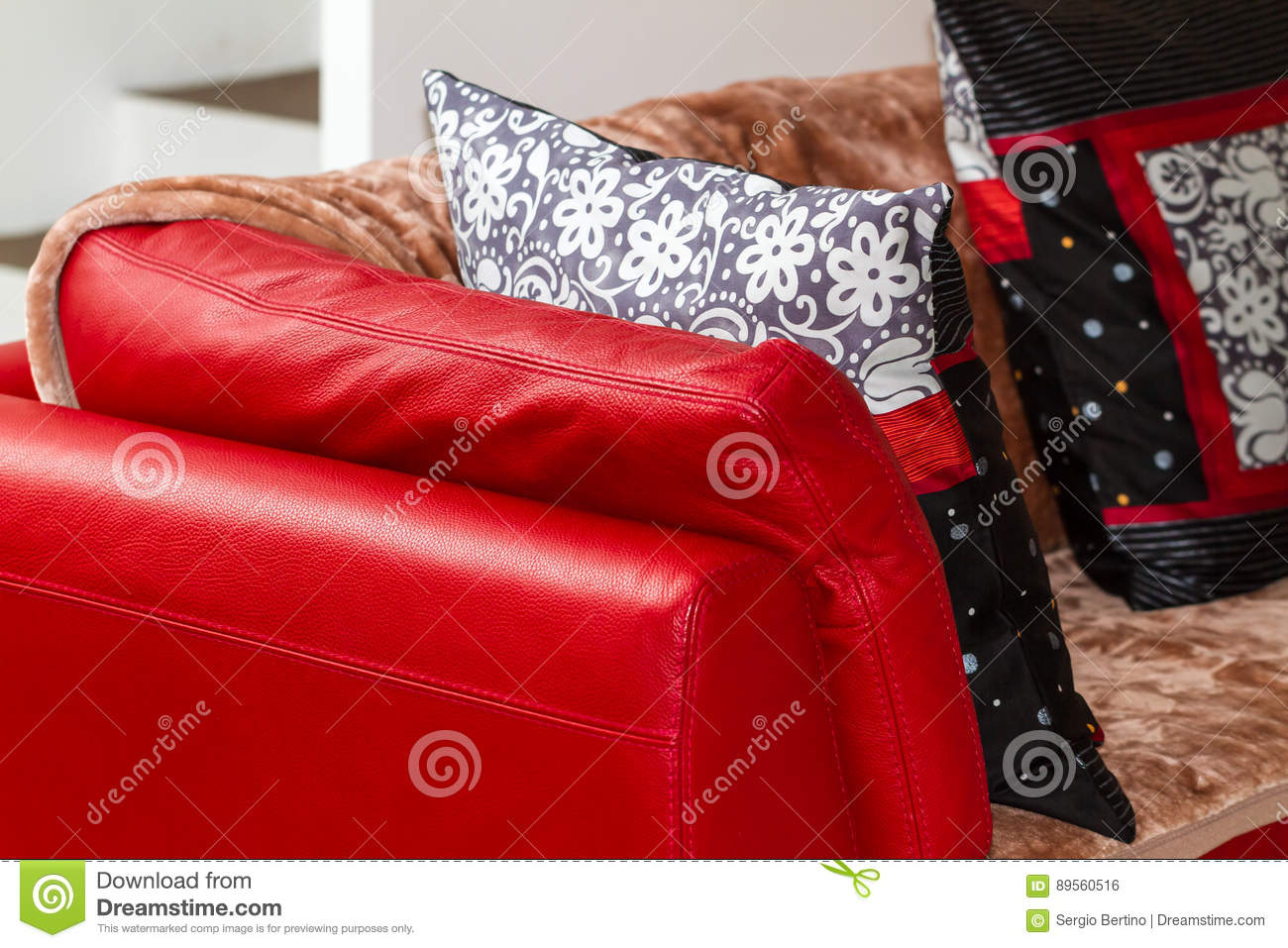 black and red leather sofa dfs grey fabric bed with throw blanket cushions stock photo image close up of soft brown white