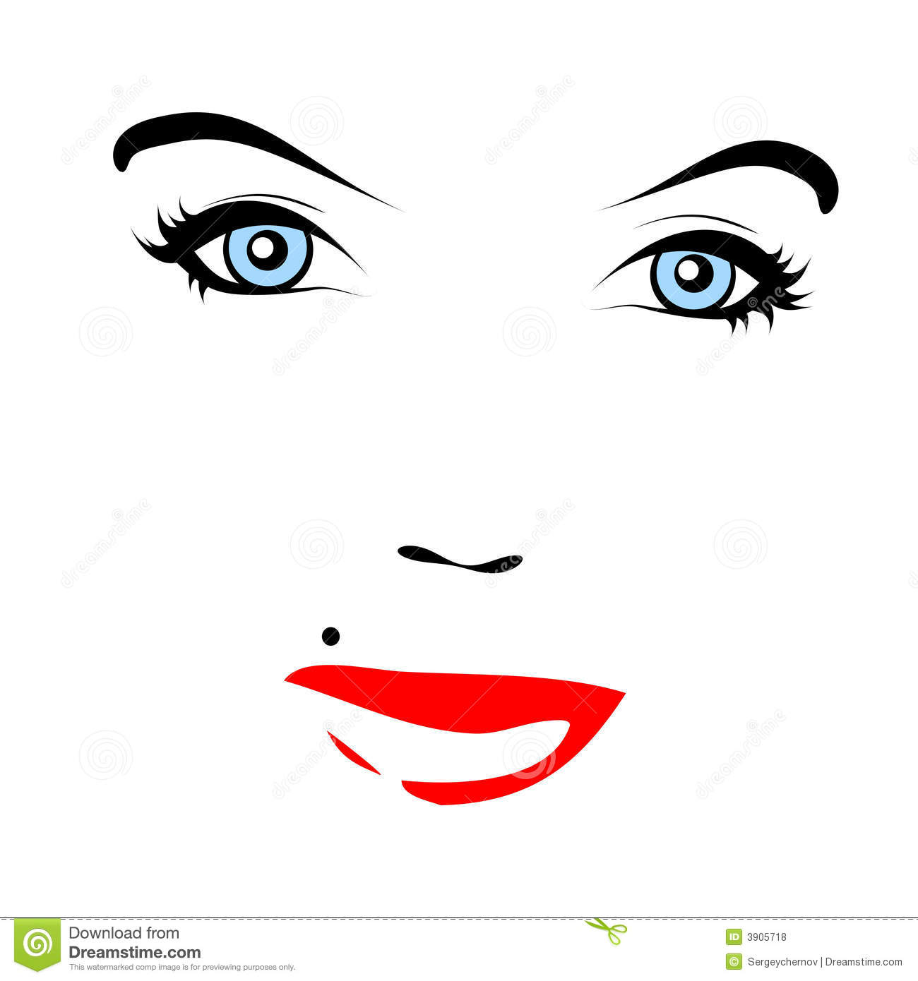 Red Lips Vector Face Stock Vector Illustration Of