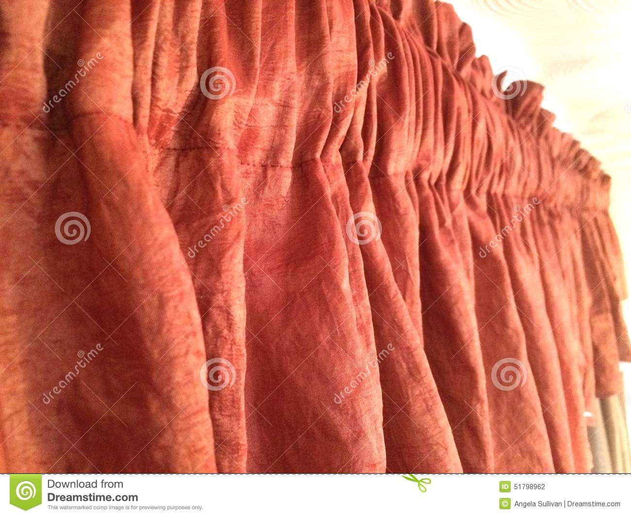 Red Orange Valance Window Treatment Stock Photo