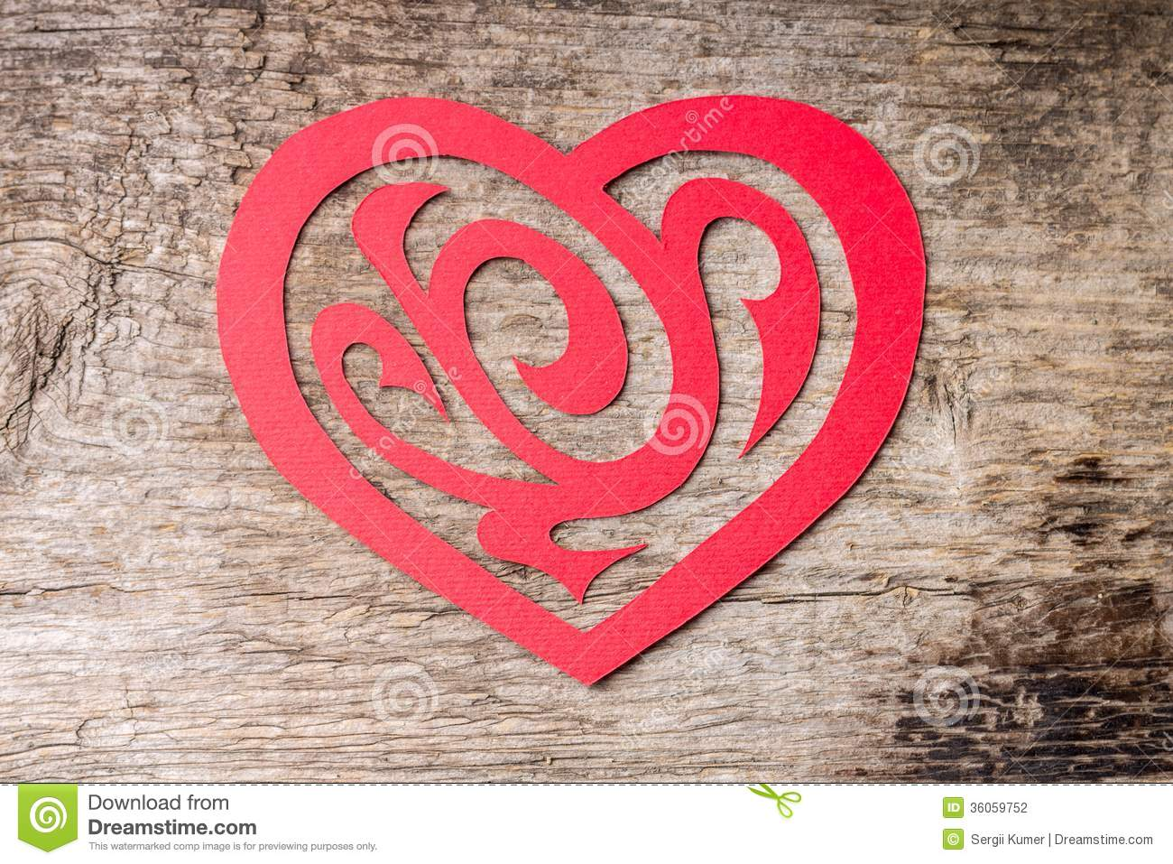 Red Paper Cut Out Heart With Ornament On Wood Stock Photo