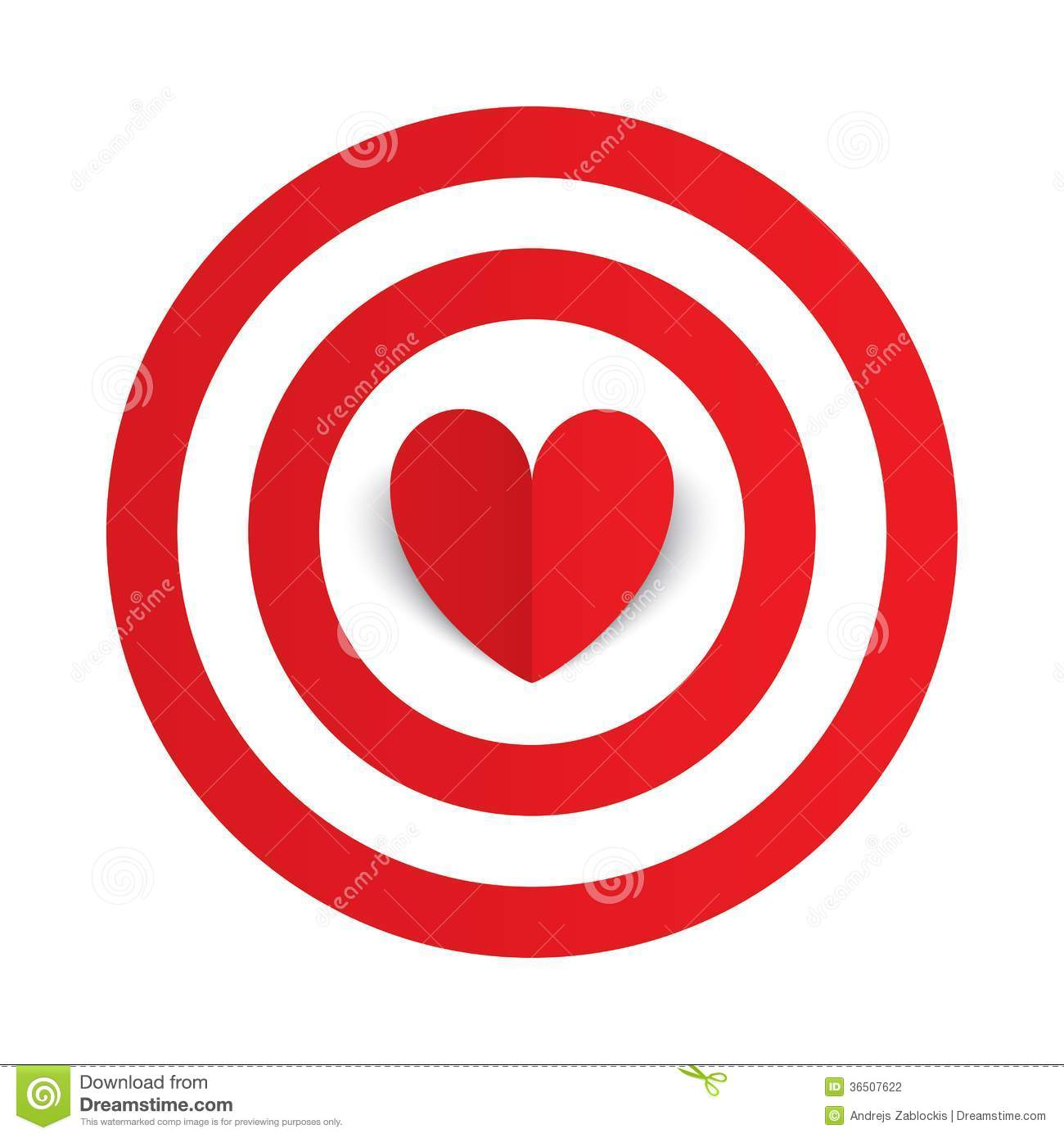Red Paper Heart In The Center Of Darts Target Aim Stock