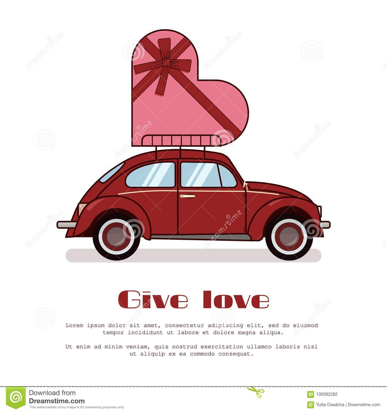 hight resolution of red retro beetle car with big present box in form of heart on trunk isolated on