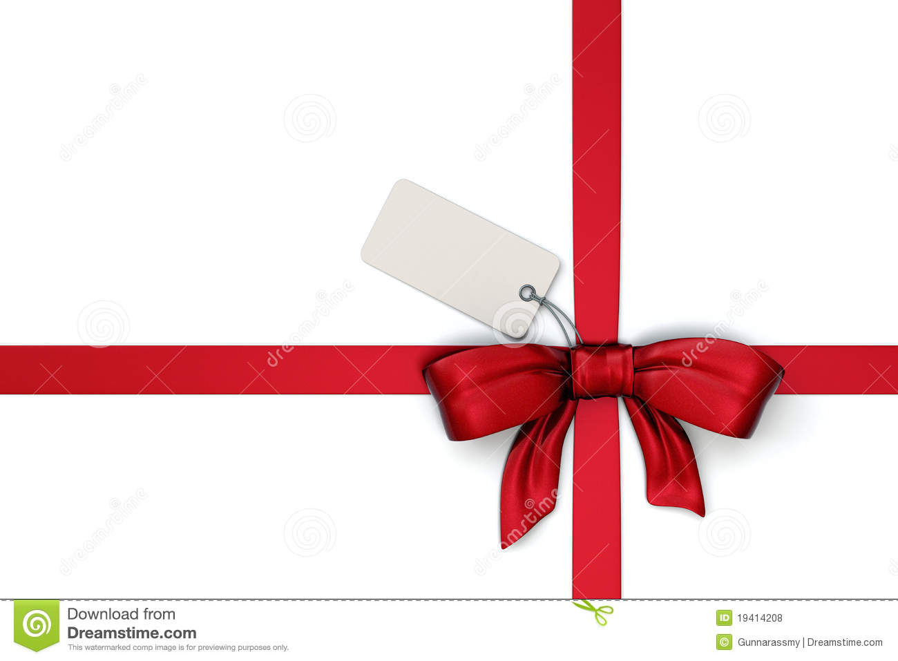 Red Ribbon With Blank Tag Royalty Free Stock Photos