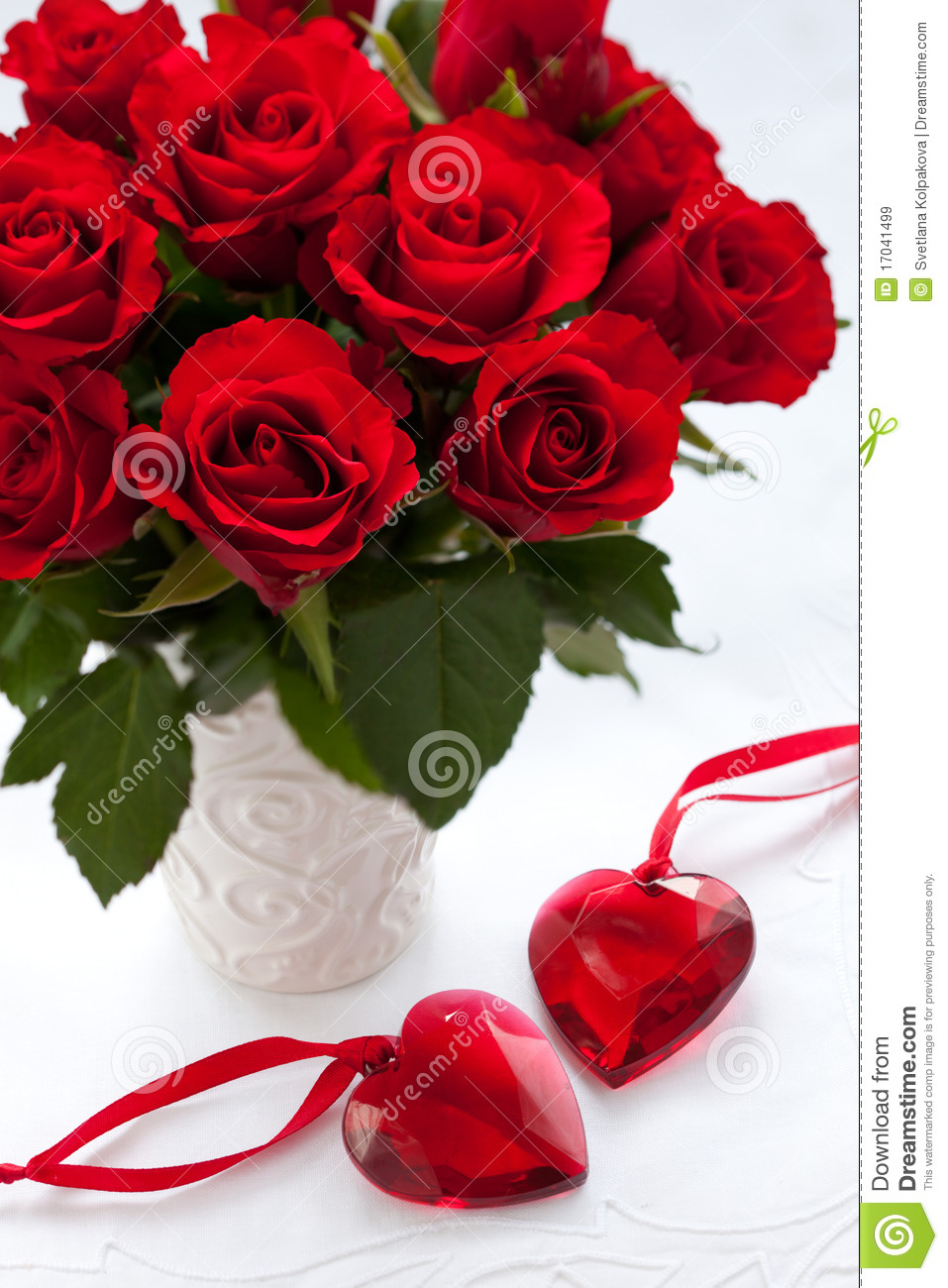 Red Roses And Hearts Royalty Free Stock Images  Image