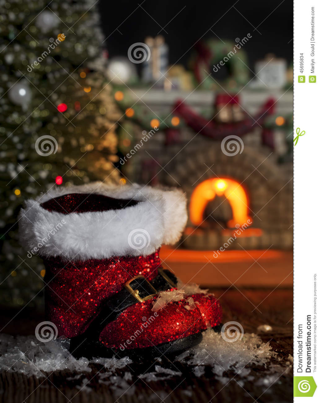 Red Santa Boots Melting Snow Stock Photo Image 45695834