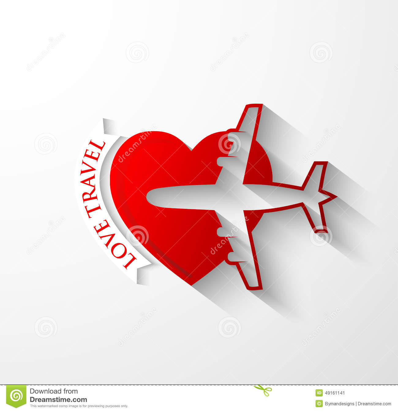 Red Silhouette Of Jet Airplane On Heart Shape Stock Vector