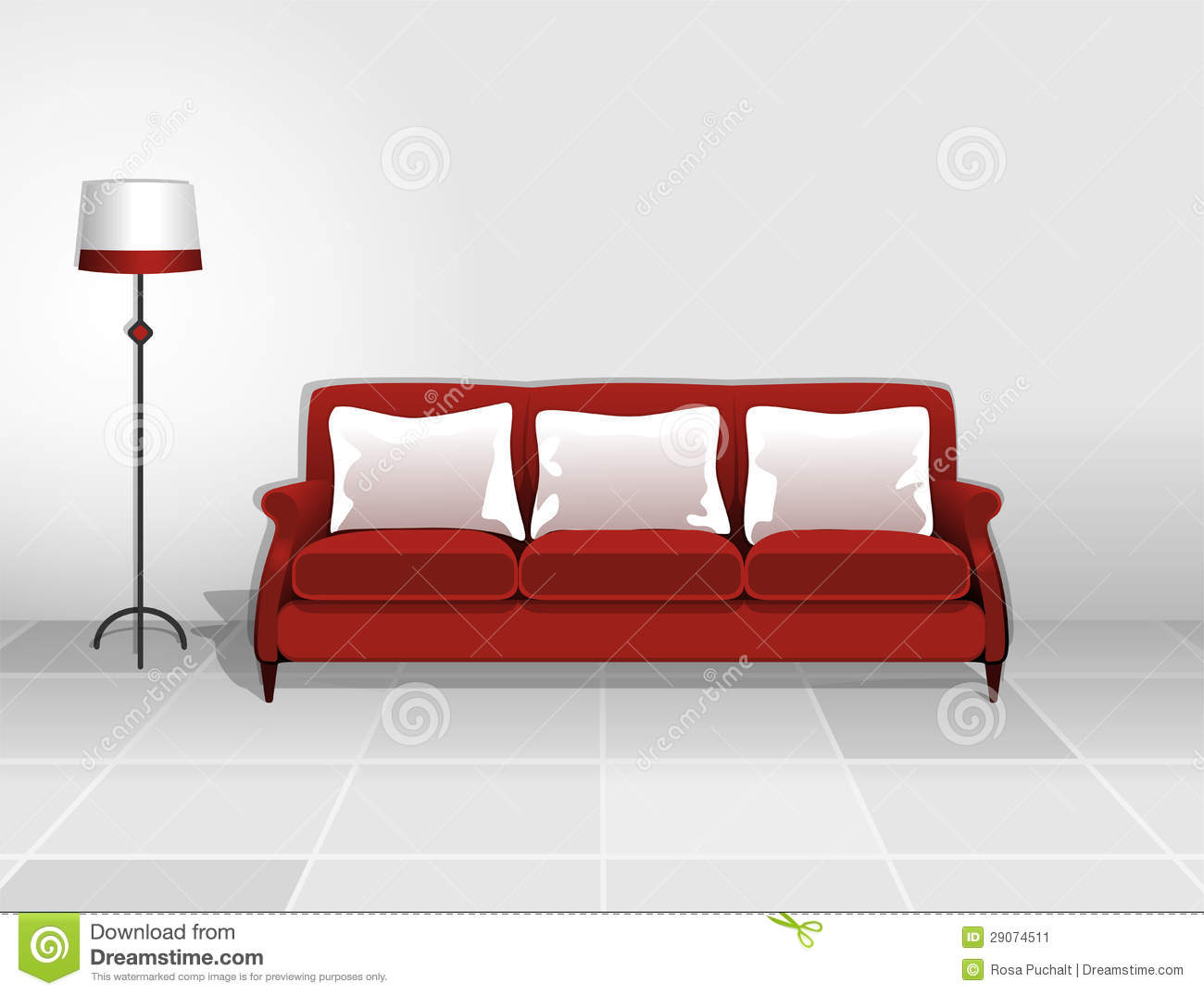 red sofa pillows makers with white cushions stock image 29074511