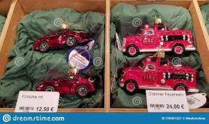 Red Sport Car And Red Fire Truck Christmas Ornaments At Christmas Market In Berlin Germany Winter Holiday Decor Editorial Photo Image Of Shiny Golden 155401221