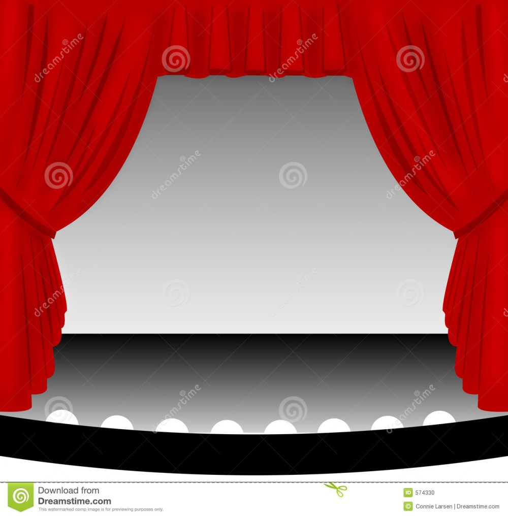 medium resolution of illustration of an old fashioned theater stage with a draped red fabric curtain