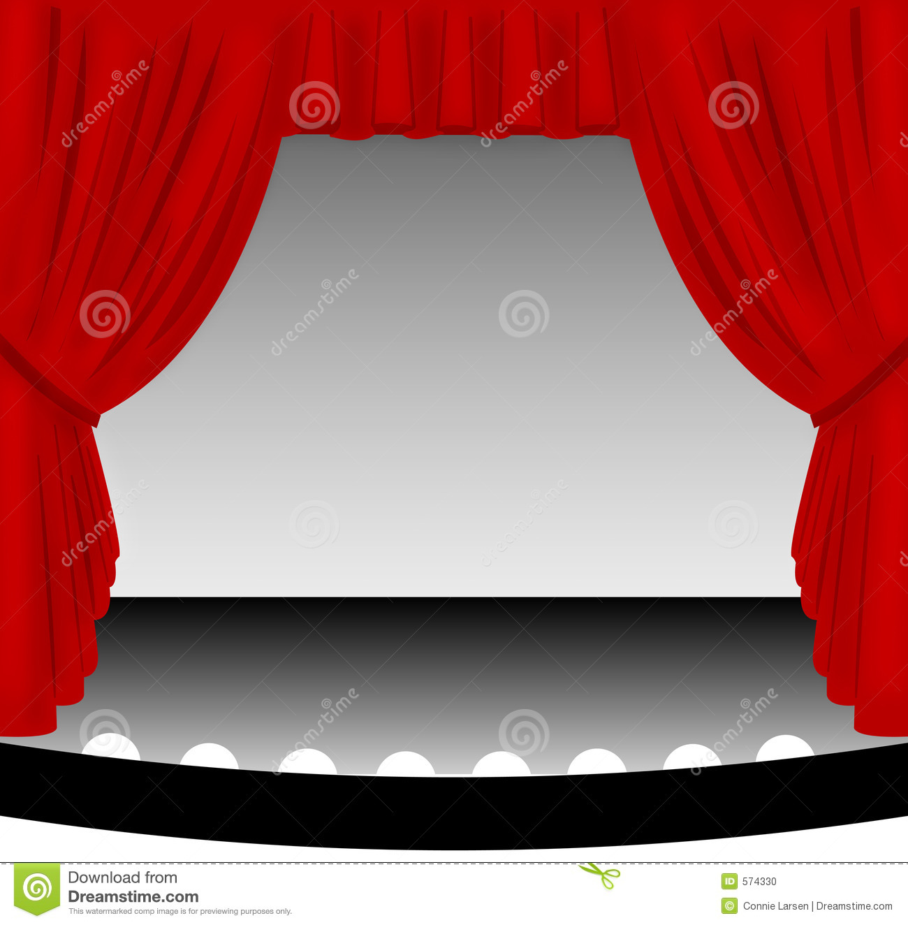 hight resolution of illustration of an old fashioned theater stage with a draped red fabric curtain