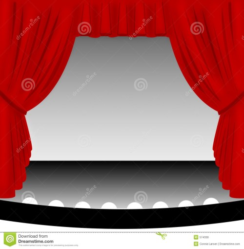 small resolution of illustration of an old fashioned theater stage with a draped red fabric curtain