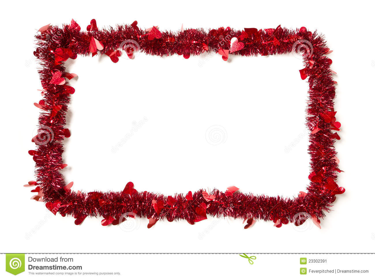 Red Tinsel With Hearts Border Frame Stock Image Image