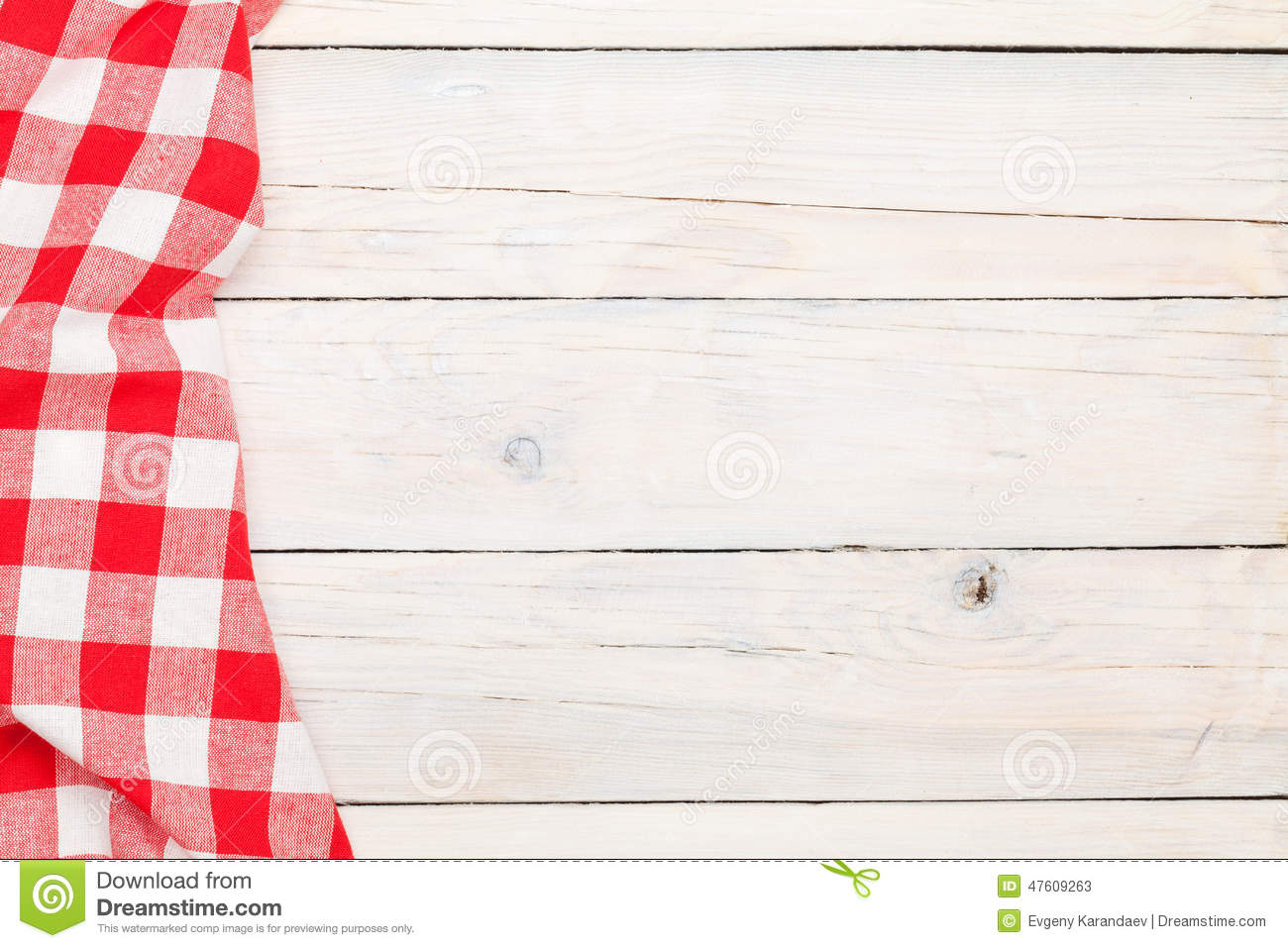 Red Towel Over Wooden Kitchen Table Stock Photo Image